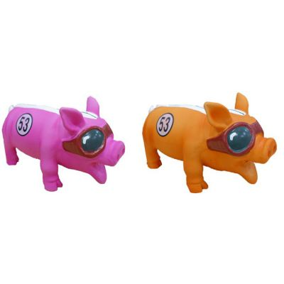 Latex pig with sun glasses style dog toy