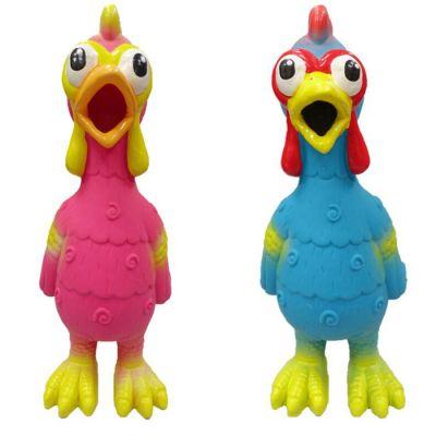 Latex chicken design with swirl pattern dog toy